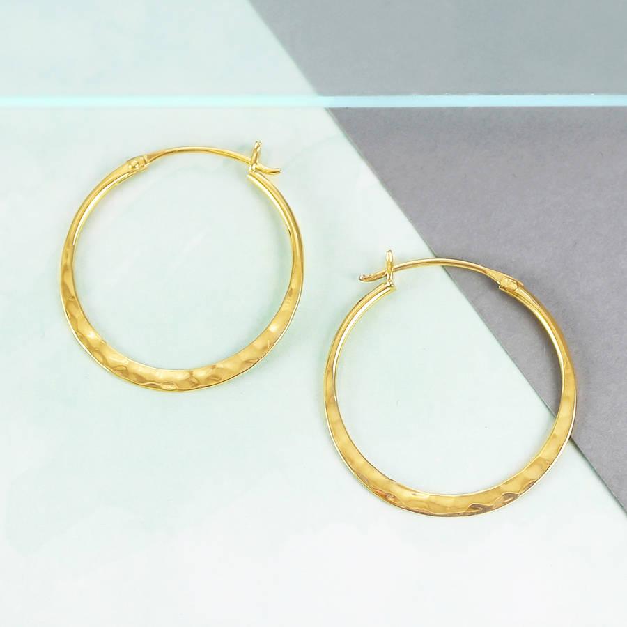 battered small gold hoop earrings by otis jaxon silver