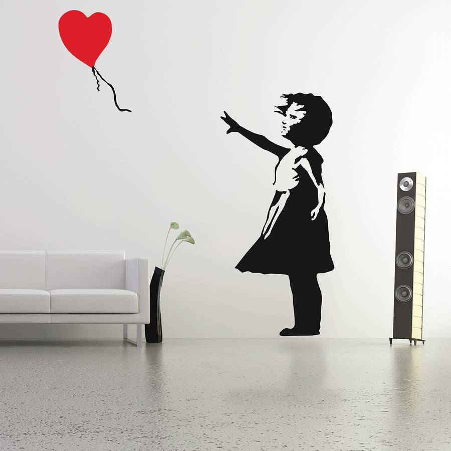 banksy balloon girl wall stickers by the binary box