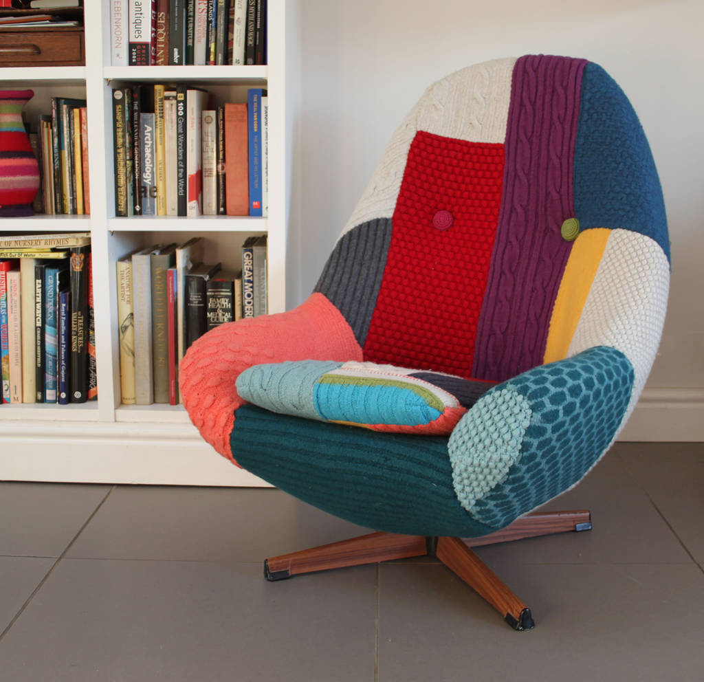 Vintage Swivel Chair Vintage Swivel Armchair Reupholstered In Bespoke Knit