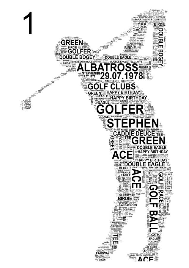 golfer personalised sports word art. three poses by unique