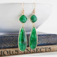 emerald gold teardrop earrings by rochelle shepherd jewels ...