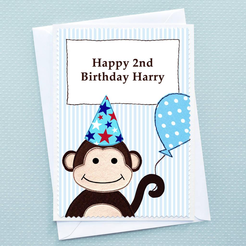 'monkey' Personalised Boys Birthday Card By Jenny Arnott
