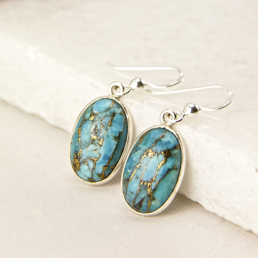 sterling silver turquoise drop earrings by gaamaa
