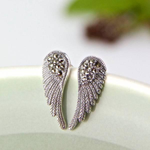 Marcasite Sterling Silver Angel Wing Earrings Gaamaa