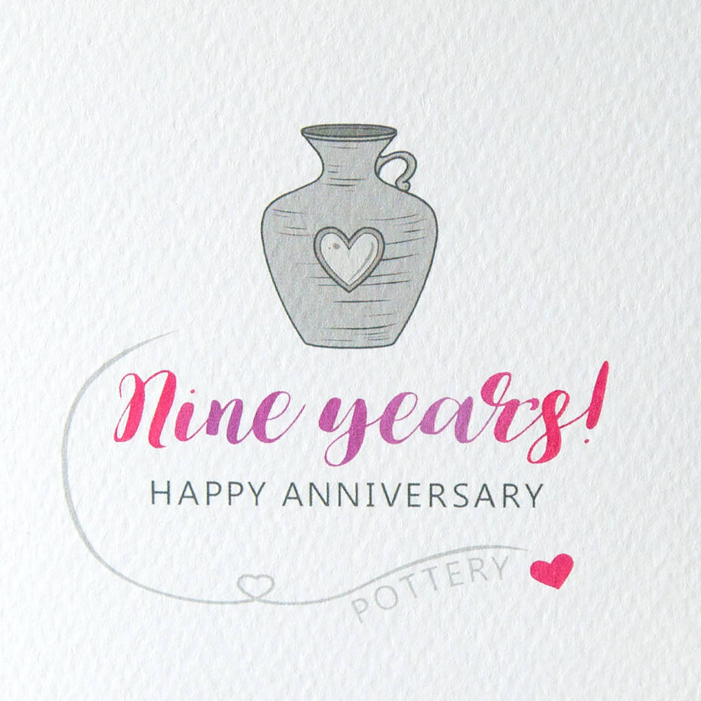 9th wedding anniversary card pottery by miss shelly designs  notonthehighstreetcom