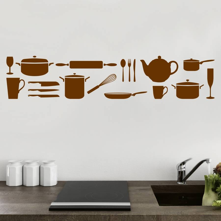 kitchen utensils wall sticker by mirrorin