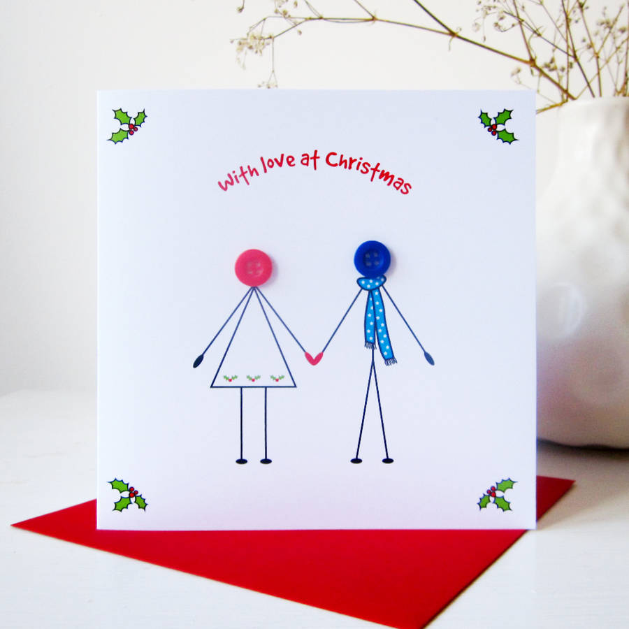 Girlfriend And Boyfriend Christmas Button Card By Mrs L