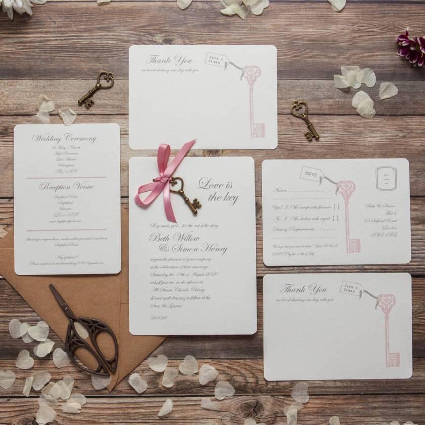 Love Is The Key Diy Wedding Invitation Pack
