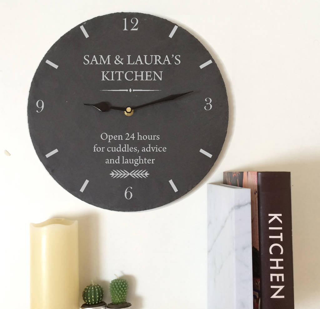 kitchen clocks accessories personalised slate wall clock by perfect gifts