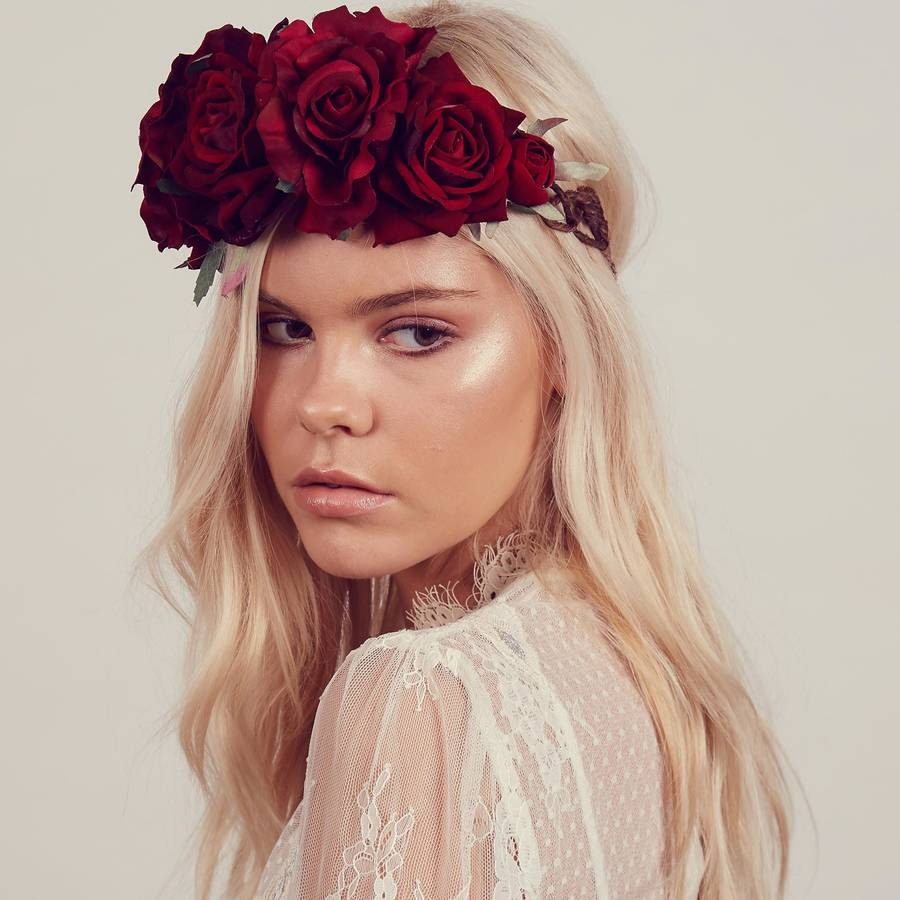 beatrice oversized floral crown headband by rock 'n rose | notonthehighstreet.com