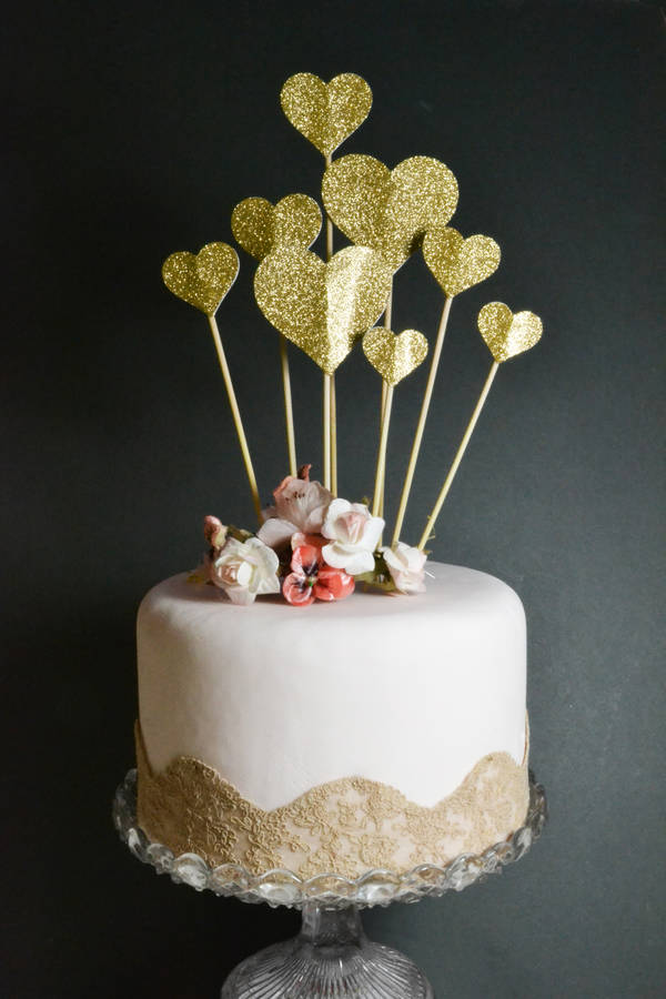 Handmade Glitter Heart Cake Topper By May Contain Glitter