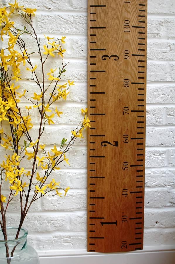 solid oak kids rule wooden ruler growth chart by