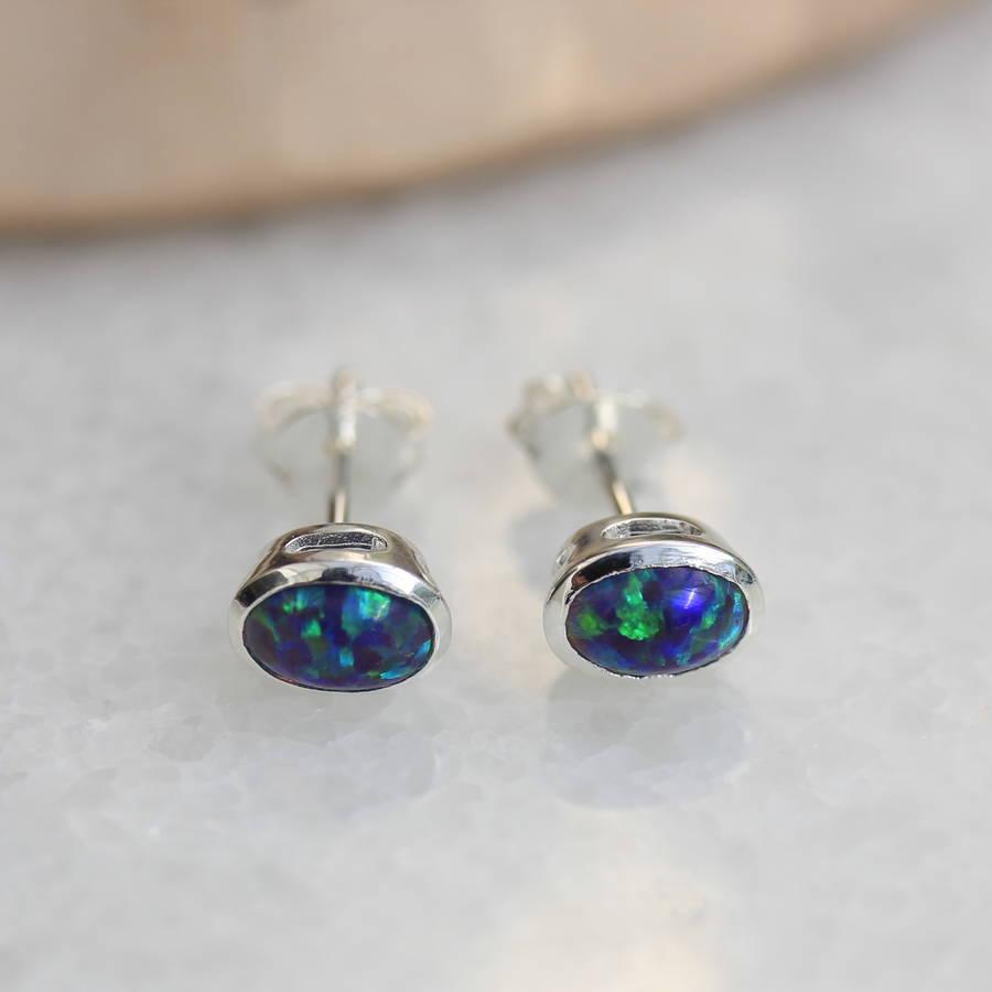 opal stud earrings by molly & pearl