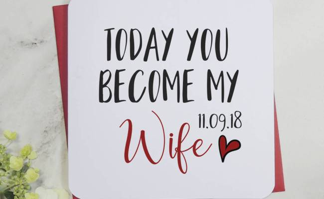 Personalised Today You Become My Wife Wedding Card By