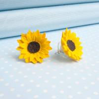 sunflower stud or clip on earrings by good intentions ...
