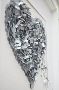 silver wedding anniversary butterfly heart wall art by