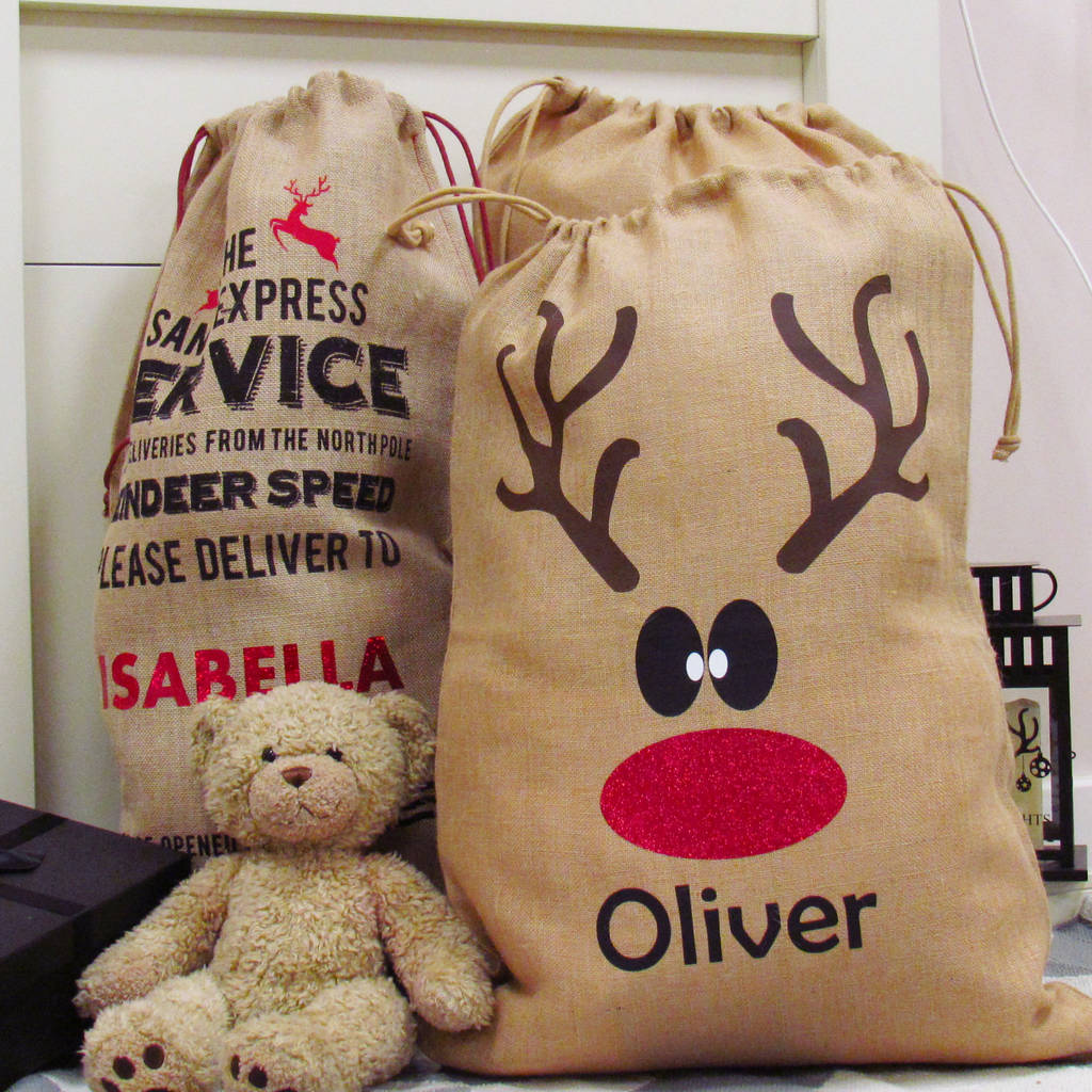 Personalised Reindeer Christmas Santa Sack By Perfect