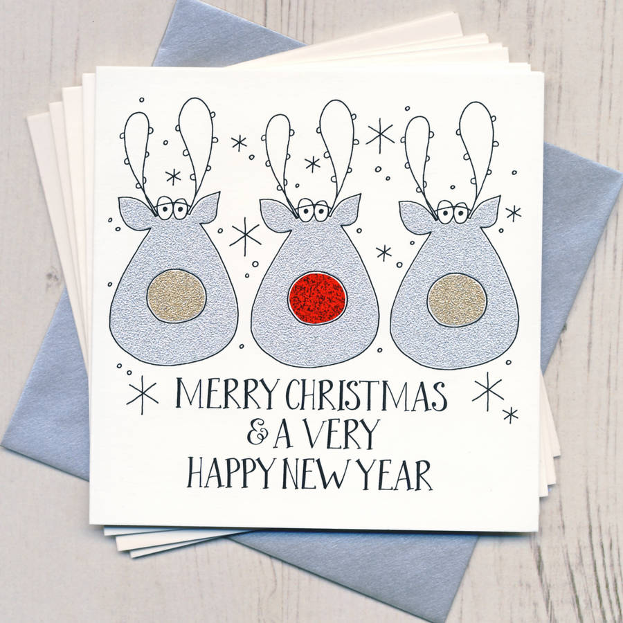 Pack Of Five Handmade Sparkly Christmas Cards By Eggbert