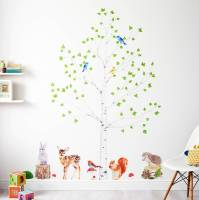 woodland nursery wall stickers, animals and tree set by ...