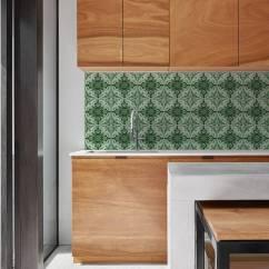 Wallpaper For Kitchen Walls Sliding Drawers Cabinets Azulejos Green Backsplash By Lime