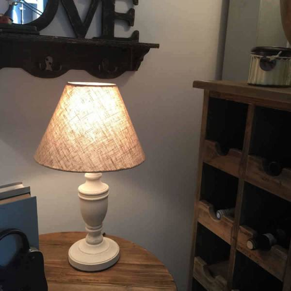 White Wooden Bedside Table Lamps