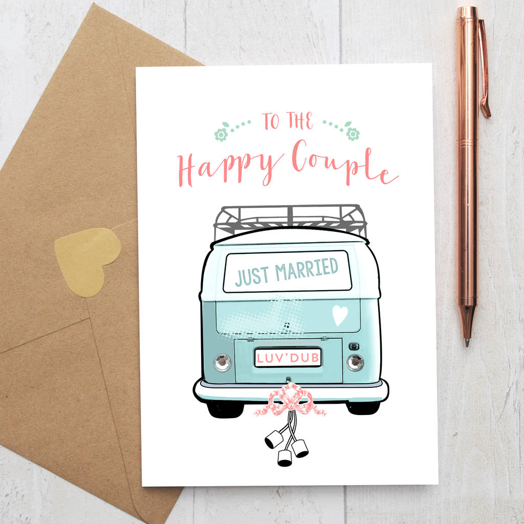 wedding card with colourful camper van and rhinestones by