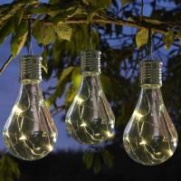 set of six solar lightbulb hanging garden lights by london ...