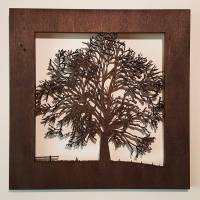 small wooden tree scene silhouette wood picture art by for ...