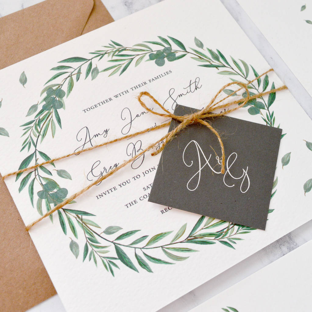 eucalyptus wedding invitation by amanda michelle design