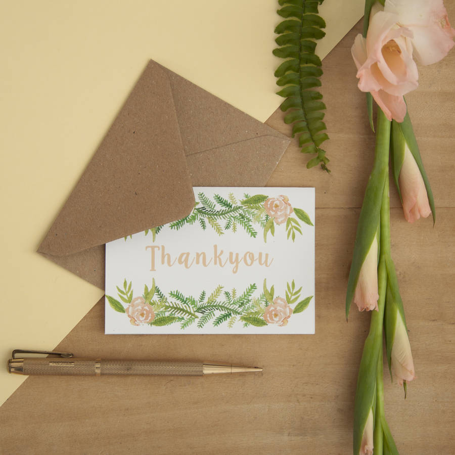 Set Of Six Floral Mini Thankyou Cards By Little Paisley