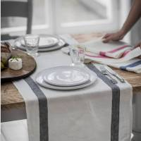 charcoal french stripe linen table runner by the linen ...