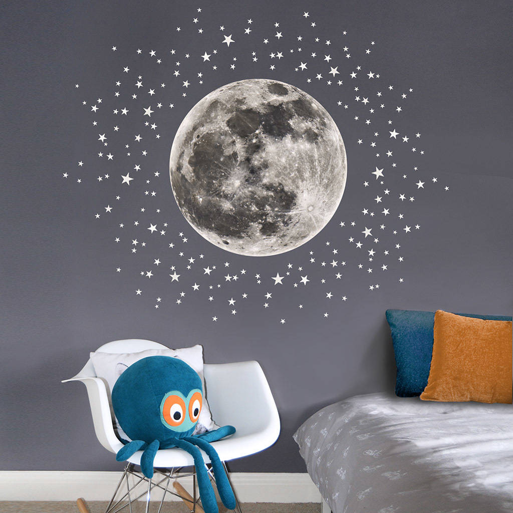 moon and stars fabric wall sticker by koko kids