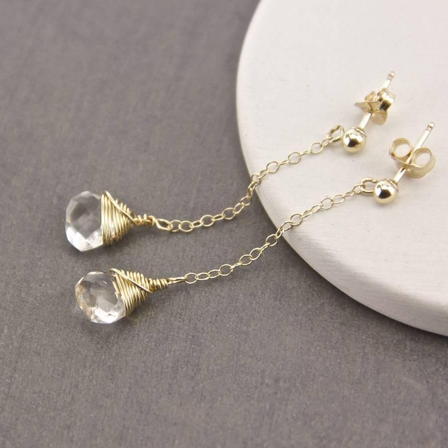gold birthstone long chain stud earrings by gaamaa