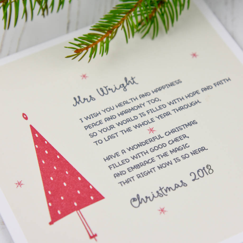 Personalised Christmas Card For A Special Teacher By A