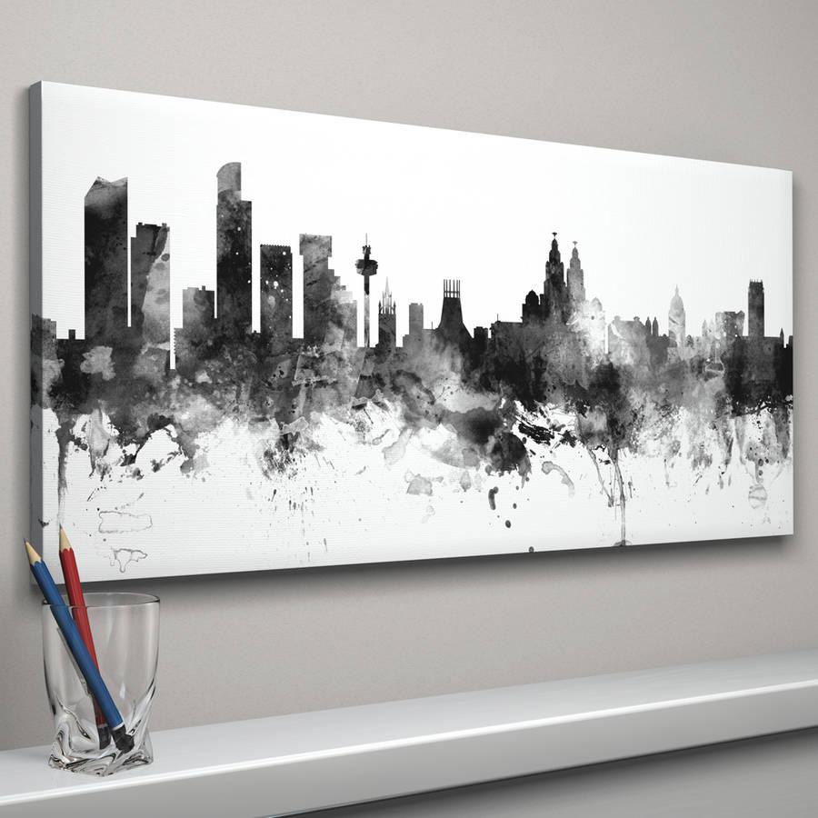 liverpool skyline cityscape black