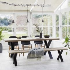 Dining Table With Metal Chairs Kids Moon Chair Industrial Tables Notonthehighstreet Com Oak Black Steel X Frame