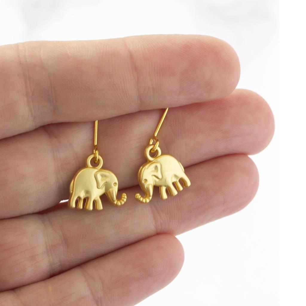 elephant charm drop earrings by joy by corrine smith