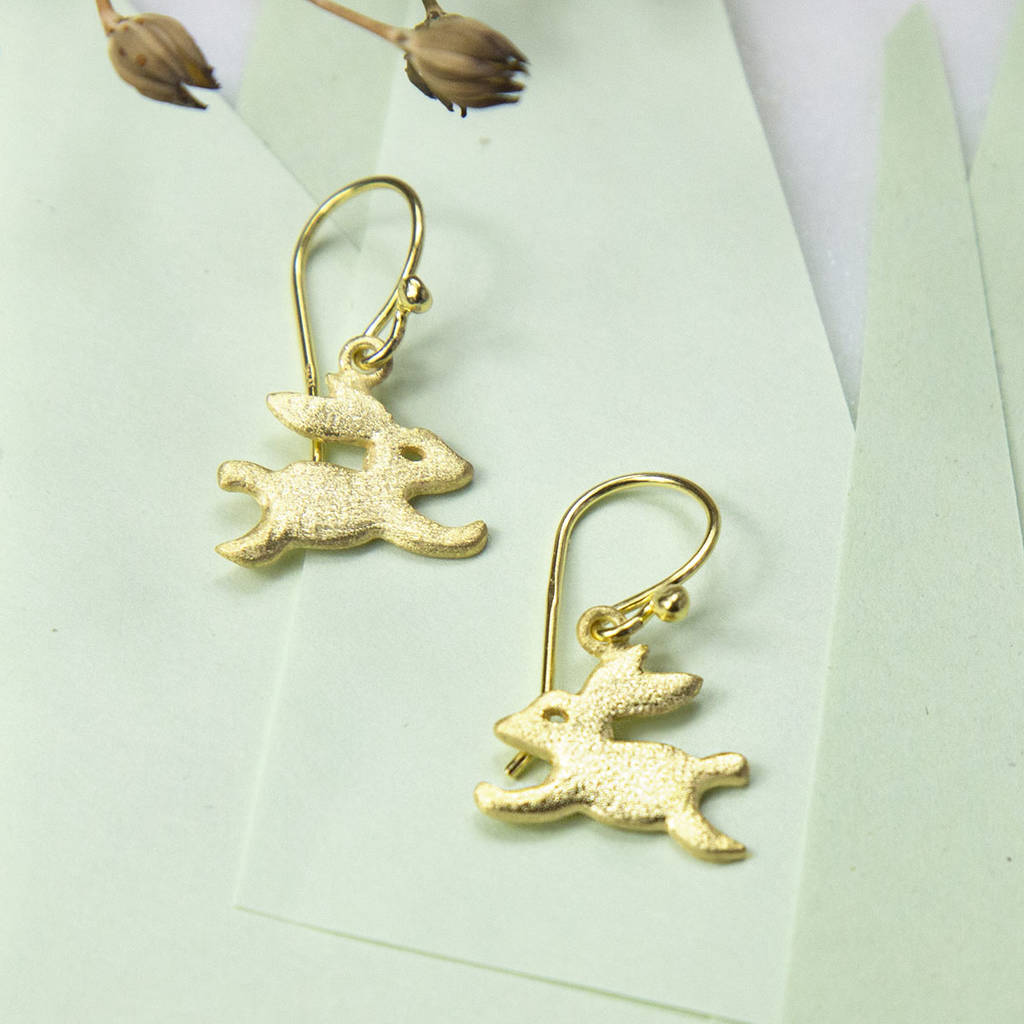 gold plated sterling silver bouncing bunny earrings by