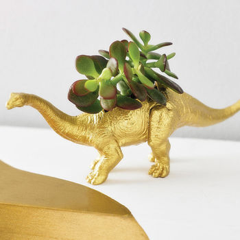 Diplodocus Dinosaur Planter With Plant