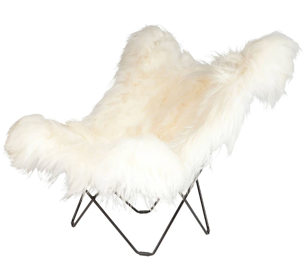 White Butterfly Chair Sheepskin Butterfly Chair By Grattify Notonthehighstreet