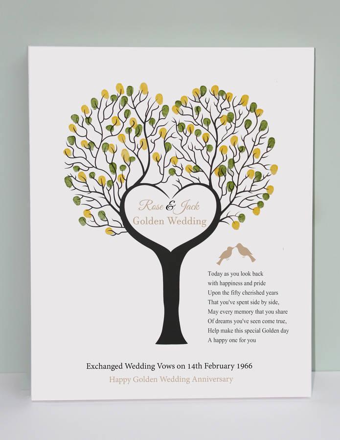 golden wedding anniversary fingerprint canvas by lisa