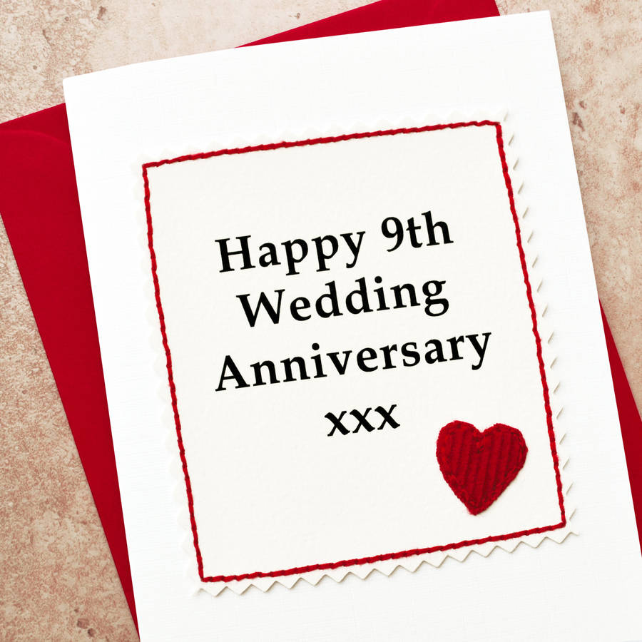 handmade 9th wedding anniversary card by jenny arnott cards  gifts  notonthehighstreetcom