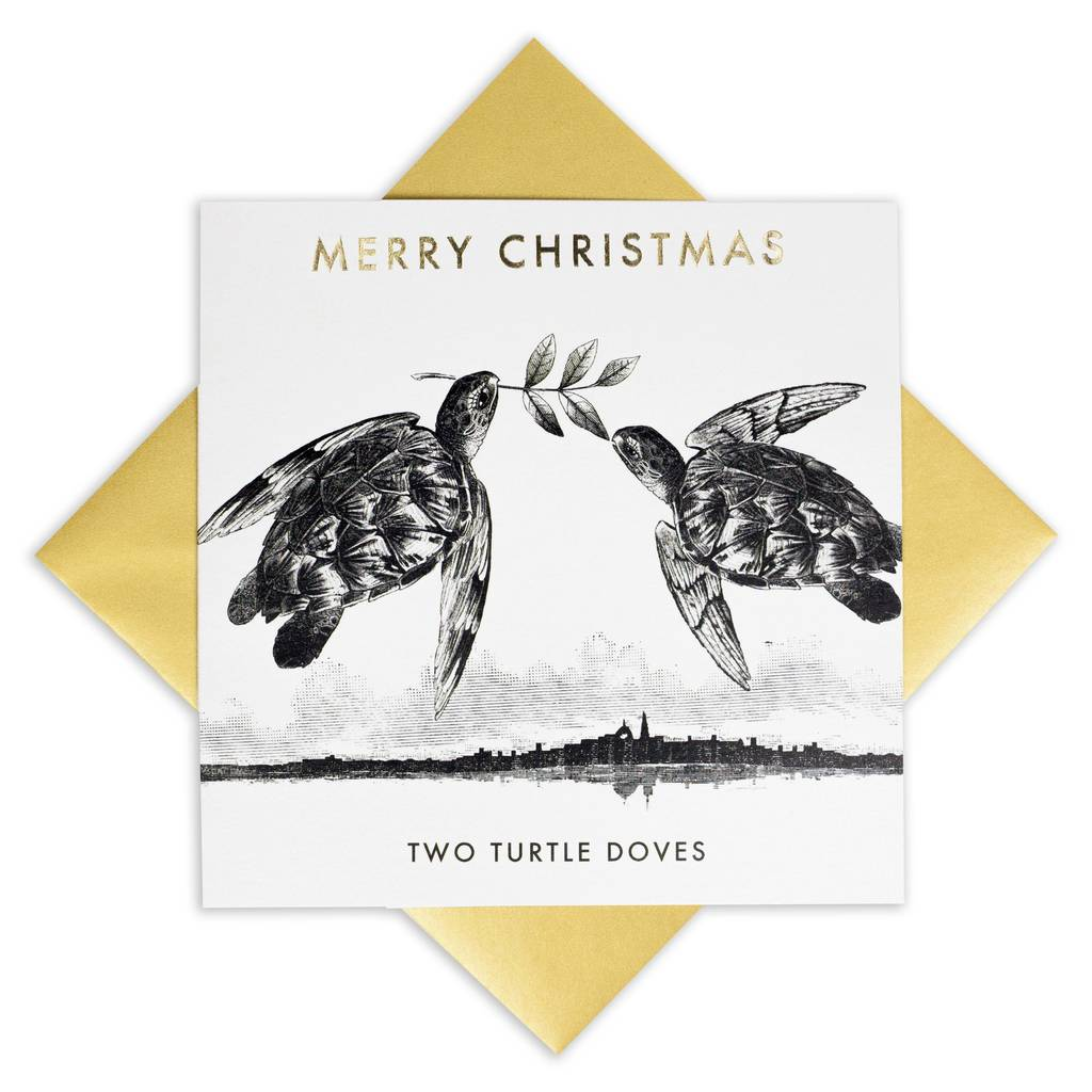 Luxury Christmas Card Two Turtle Doves By Bird Brain