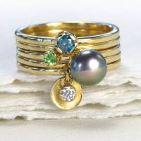 stacking rings  set of five 18ct gold rings by lilia nash ...