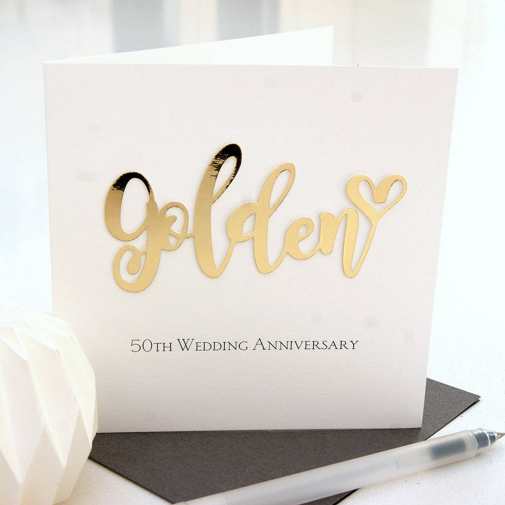 50th golden wedding anniversary card by the hummingbird