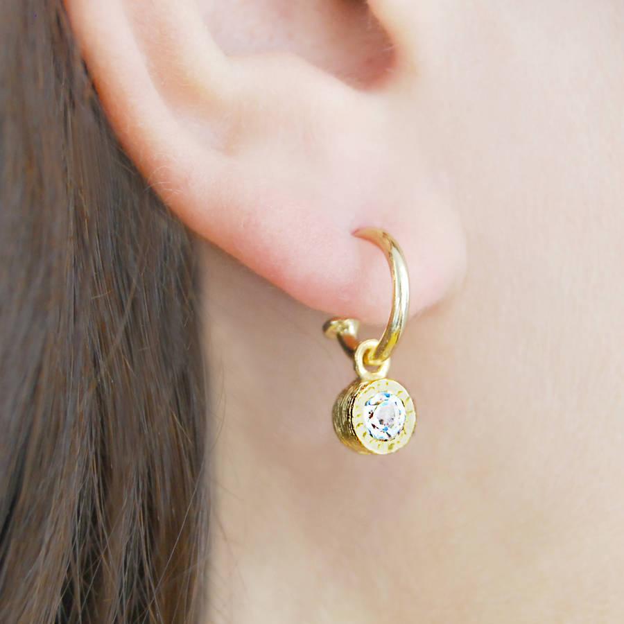 Round White Topaz Silver Hoop Earrings By Embers Gemstone