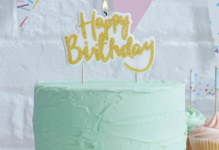 Gold Glitter Happy Birthday Cake Candle By Ginger Ray