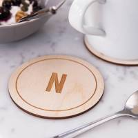 personalised initial wooden drinks coaster by clouds and ...