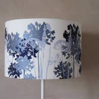 white floral printed lampshade navy and pale blue by emma