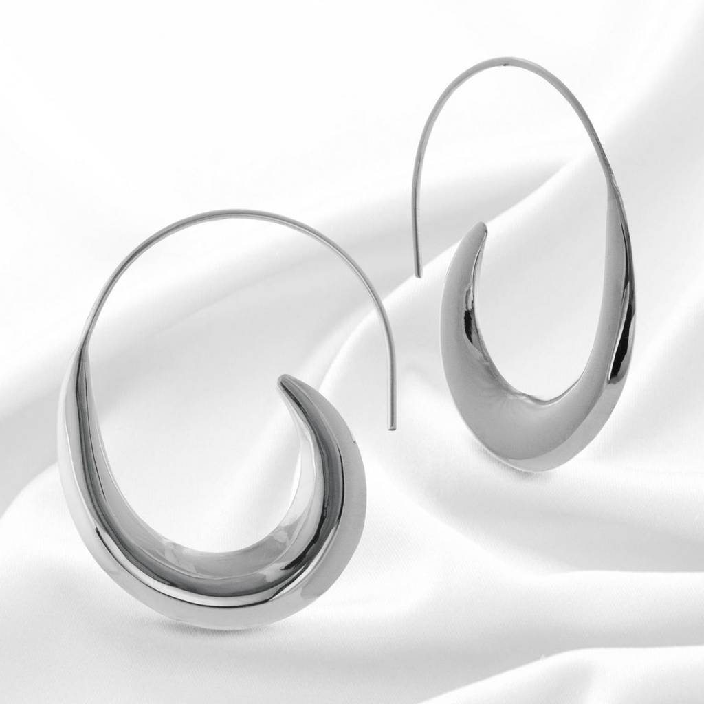 large sterling silver contemporary hoop earrings by the